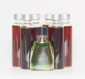 Several bottles of liquid medicine royalty free stock images