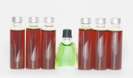 Several bottles of liquid medicine Stock Images