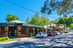 Several boutique stores in Sassafras. Along the main road. Sassafras is located at an altitude of approximately 500 metres, a few kilometres south of the Royalty Free Stock Images