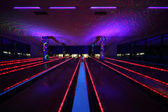 Several bowling alleys inside bowling club Royalty Free Stock Image