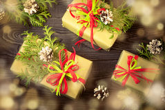 Several boxes of gifts stock photography