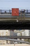 Several bridges of Moscow seen through each other. The Moscow river embankment. Color photo Stock Photos