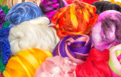 Several bright balls of rough wool balls Royalty Free Stock Photos