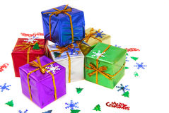 Several brightly colored Christmas gifts Royalty Free Stock Images