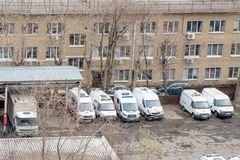 Several broken  ambulances after  crash accidents at repair station,Moscow,Russia,April 2019 royalty free stock photography