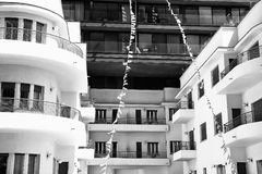 A modern design of beautiful buildings. Several buildingd of modern design of black and white colors Royalty Free Stock Images
