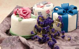 Several cakes decorated Stock Images