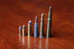 Several Calibers of Bullets Stock Photo