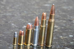 Several Calibers of Bullets Stock Image