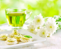 Several canapes and cup of herbal tea Royalty Free Stock Photo