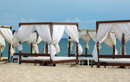 Several canopies on the beach Royalty Free Stock Image