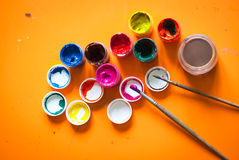Several cans of paint Royalty Free Stock Images