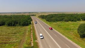 Several Cars Driving On Country Freeway stock footage