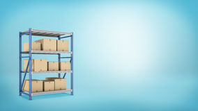 Several carton boxes placed on a metal warehouse rack on blue background. stock images