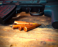 Several cartridges to sniper rifle Royalty Free Stock Photos