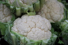 Several Cauliflower heads close up isolated. At a market stall royalty free stock images