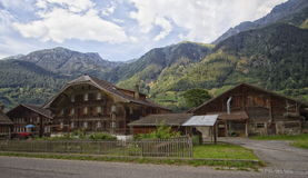 Several chalets in Swiss mountain Royalty Free Stock Image