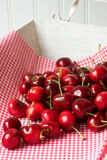 Several cherries on tray. With red gingham napkin Royalty Free Stock Images
