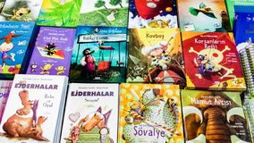 Several children's books displayed on the stand in Eskisehir Book Fair in Turkey
