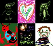 Several children`s drawings royalty free stock image