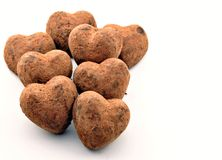 Several chocolate truffles Stock Photo