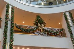 Several Christmas decorations in a shopping mall. From below Royalty Free Stock Photo