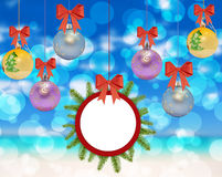 Several christmas decorative ball with bow and pine tree on boke Stock Photo