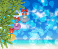 Several christmas decorative ball with bow and pine tree Royalty Free Stock Photography