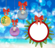 Several christmas decorative ball with bow and pine tree. On bokeh background royalty free stock photography