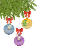 Several christmas decorative ball with bow and pine tree Royalty Free Stock Images