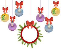 Several christmas decorative ball with bow and pine tree Stock Images