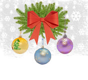 Several christmas decorative ball with bow and pine tree. On white royalty free stock photo