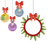 Several christmas decorative ball with bow and pine tree. On white stock images