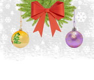 Several christmas decorative ball with bow and pine tree. On white stock photography