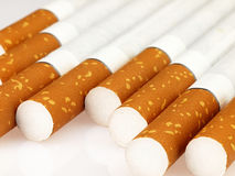 Several cigarettes on a white background. Cigarettes seen closeup lying on a light background Stock Images