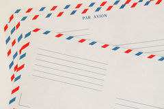 Several classic Airmail Envelope Front. Paper texture. With place your text, background use. Concept of postal. Development, written correspondence, collecting Stock Image
