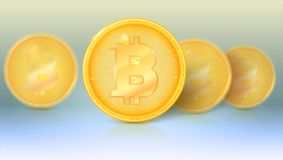 Several coins of virtual currency Bitcoin with glare and reflections. Icon, golden money of bitcoin with blur and soft Stock Images