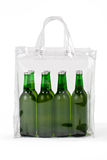 Several Cold Beers In Plastic Bag Stock Image