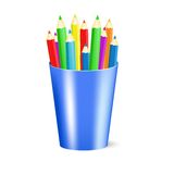 Several color pencils in a cup. Vector Illustration Royalty Free Stock Photography