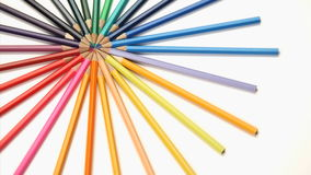 Several color pencils rotating stock footage