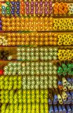 Several color pens stack row in stationary shop background. Several color pens stack row in stationary shop store background stock photo