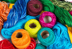 Several color spools of thread Stock Photos
