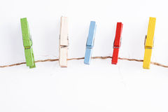 Several color of wood clip on rope Royalty Free Stock Image