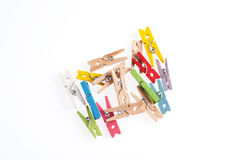 Several color of wood clip Royalty Free Stock Photo