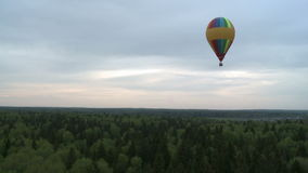 Several colored balloons rising over tree tops stock video