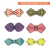 Several colored  bow tie with simple pattern.Set Stock Photos