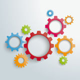 Several Colored Gears PiAd. Colored gears on the grey background. Eps 10 file Royalty Free Illustration
