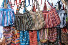 Several colored handbags. Several colored woman's handbags close-up Stock Photo