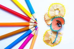 Several colored pencils and shavings Stock Photography