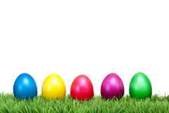 Several Colorful Easter Eggs On A Green Meadow Stock Images